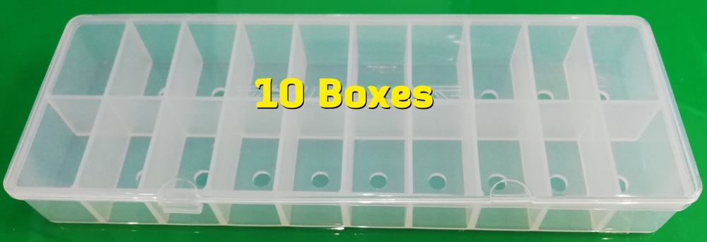 10 Pack -20 Compartment Empty Fly Tying Dubbing Dispenser (210x80x25mm)